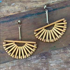 Wood Bead Drop Fan Earrings